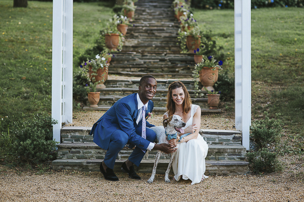 wedding couple and their dog
