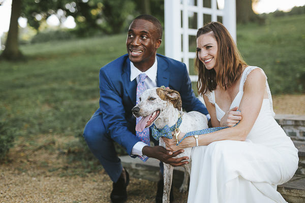 dog and newly married couple, wedding dog portraits